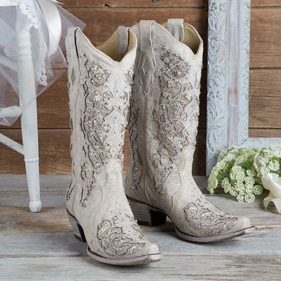 bef1a07a0c3 CORRAL Women's White Glitter Inlay Western Boots NWT